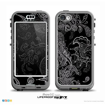 The Black with Thin White Paisley Pattern Skin for the iPhone 5c nüüd LifeProof Case