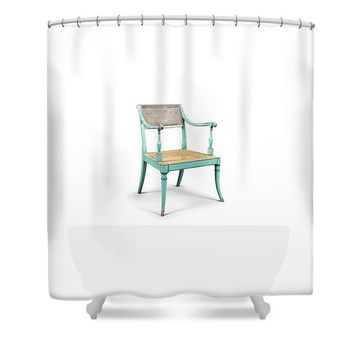 Turquoise Regency Armchair, 18th Century Made Circa 1790.l - Shower Curtain