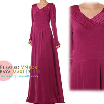 Magenta Gown, Pleated V-Neckline Jersey Abaya, Long Sleeve Maxi Dress -Size S/M or Plus Size 1X/2X (4841/2816 )