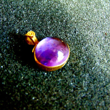 Stunning 18k gold and amethyst pendant- Gold 750 amethyst charm-Women's gold gemstone pendants-Artisan jewelry-Greek art