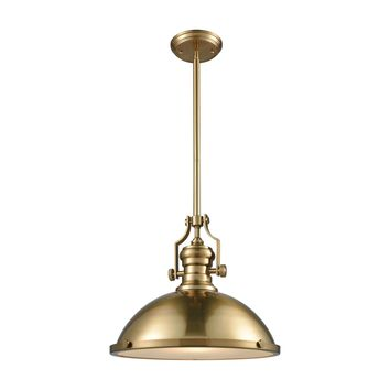 Chadwick 1 Light Pendant In Satin Brass With Frosted Glass Diffuser