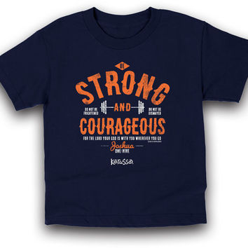 Kid's Tee Shirt - Christian Tee Shirt - Kid's Christian Tee Shirt - Stong And Courageous - Kid's Christian Tee