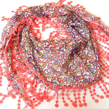 orange lace flowers scarf,lace scarf,scarf,gift,boho scarf