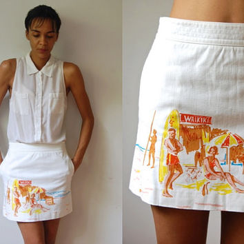 Vtg White Mini Hawaiian Retro Print Cotton Skirt