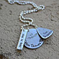 Guardian Angel- Personalized Hand Stamped Multi-Shape Necklace