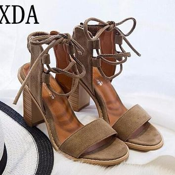 XDA 2017 Sexy Women Pumps Open Toe Lace up Heels Sandals Woman sandals Thick with Women Shoes women High heels