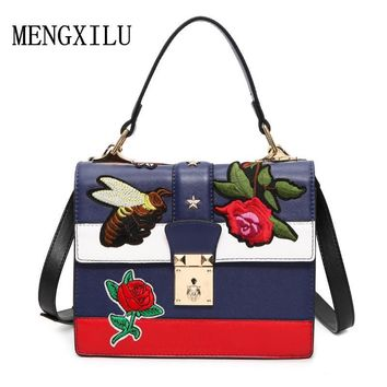 Floral/Bee Embroidered National Vintage Embroidery Shoulder Bag women's handbag 2017 Fashion Ladies Small Lock Crossbody Bag Sac