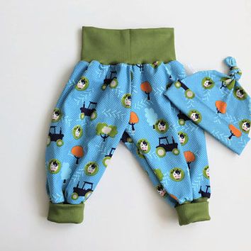 Aqua baby harem pants and knot hat set with cows and trees. Soft jersey knit with cows. Knotted hat and baggy pants. Green waist band cuffs