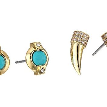 LAUREN Ralph Lauren Turquoise Stud and Pave Horn Duo Earrings