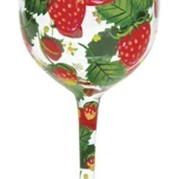 Strawberry Fields Hand-Painted Stemmed Glass