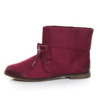 Qupid Strip 05 Burgundy Oil Finish Suede Lace Up Booties