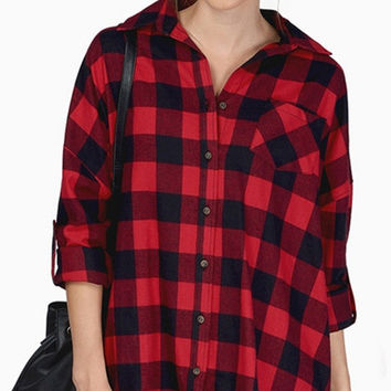 Black and Red Plaid Button Up Polo Shirt