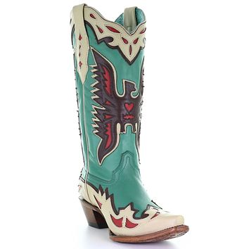 Corral Turquoise Cactus Overlay & Flower Embroidered Boots
