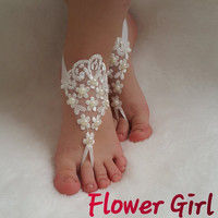 Flower Girl lace barefoot  children's shoe flower kids embrodeired wedding bangle princess free ship pearls baby anklet  girl accessory