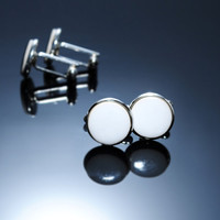 """White cufflinks Ceramic cufflinks 15mm 0.6"""" Handmade ceramics silver plated findings. Elegant accessory for men Fathers day gift for him"""