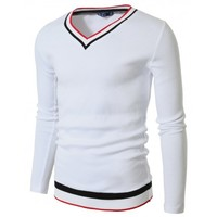 Mens Casual V-neck Knit T-Shirt (R2VT05)