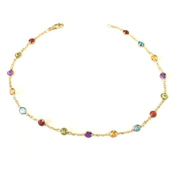 """14k Yellow Gold Cable Chain Link Anklet And Alternate Round Faceted 5 Color Stones, 10"""""""