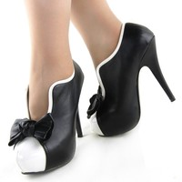 Show Story Vintage Two Tone Bow Platform Stiletto High Heel Ankle Boots,LF30427