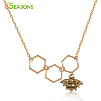 """8SEASONS Necklace dull gold-color Honeycomb Bee Hollow 48cm(18 7/8"""") long, 1 Piece"""