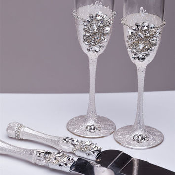 Wedding Gles And Cake Server Set Knife Cutting Toasting Flutes Champagne