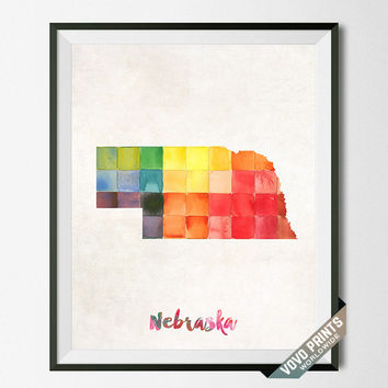 Nebraska, Map, Print, Lincoln, USA, Poster, Watercolor, Painting, Home Town, Dorm room, Art, States, America, Decor, Watercolour [NO 27]
