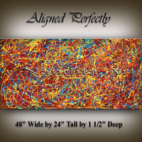 """Oil Painting, Jackson Pollock style Canvas Art Original Painting Modern Art 48"""" abstract art expressionist acrylic drip painting."""