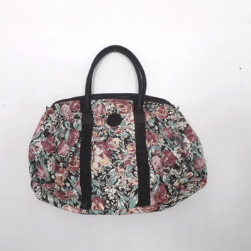 Vintage 90s Large Black Rose Floral Tote Purse Duffle Bag Cotton Canvas Carry On Carpet Bag Overnight Bag Luggage Suitcase Hipster Grunge