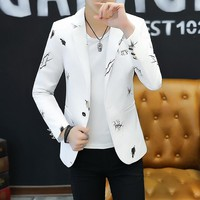 2018 Youth Slim Small Suit Men Fashion Casual Spring Print Suit