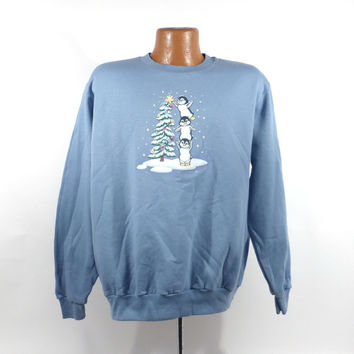 Ugly Christmas Sweater Vintage Sweatshirt Party Xmas Tacky Holiday Penguins Size L