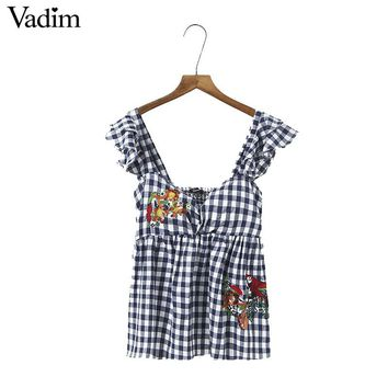 Vadim women sexy V neck bird flower embroidery sequined blouses ruffles plaid sleeveless shirts pleated casual tops blusas WT419