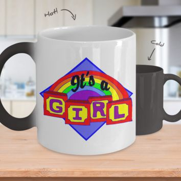 Gender Reveal Color Changing Coffee Mug-Girl Rainbow