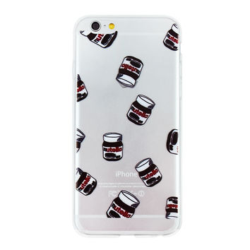Nutella Jar Collage Dense Soft Silicone TPU Clear Transparent Phone Back Case Cover for iPhone 5 5s 6 6s 7 7 Plus