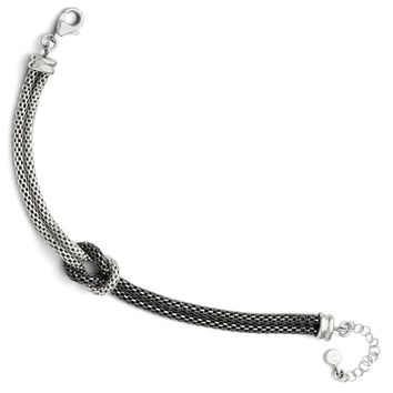 Sterling Silver and Black Plated Mesh Strand Knot Bracelet, 7-8.5 Inch