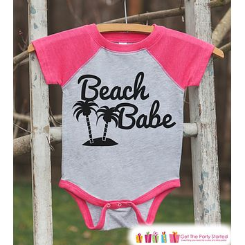 Beach Babe Onepiece or Raglan - Summer Outfit For Girls - Pink Baseball Tee or Onepiece - Fun Summer Outfit for Baby, Youth, Toddler