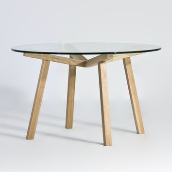 Katey Round Dining Table - Glass Top | GFURN