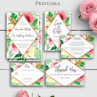 Tropical Wedding Invitation Suite, Personalized Printable Wedding Set, Watercolor Details Card, Save the Date, Response Card, Hawaiian
