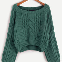 Green Scoop Neck Cable Knit Crop Sweater
