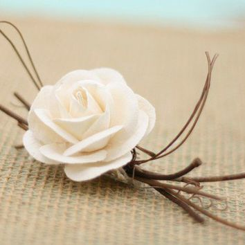 Natural Vintage Inspired Paper Creamy White Ivory Roses Wedding Pin Boutonniere