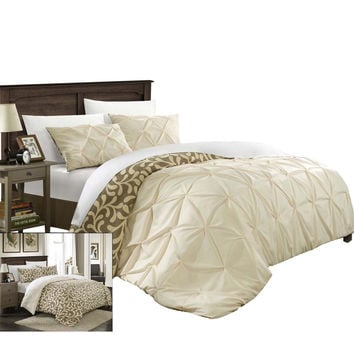 Tirina Talia Pintuck 3 Piece Reversible Duvet Cover Set King & Queen Beige