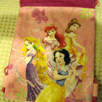 Disney Pink Princess Let the Magic Begin Kid's Drawstring Backpack Tote Gym Bag!