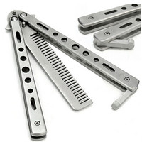 Stainless Steel Practice Training Butterfly Balisong Style Knife Comb Balisong Benchwade