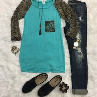 Lace Sleeve Leopard Top