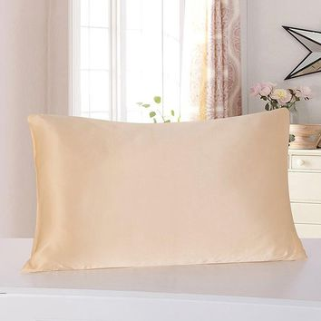 100% Nature Mulberry Silk Pillowcase Zipper Pillowcases Charmeuse Satin Pillow Cover 76*51cm Fundas cojines Cover