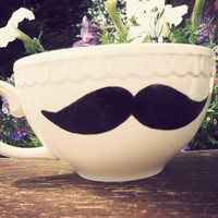 Mr Teacup's hand drawn moustache teacup Geeks only by MrTeacup