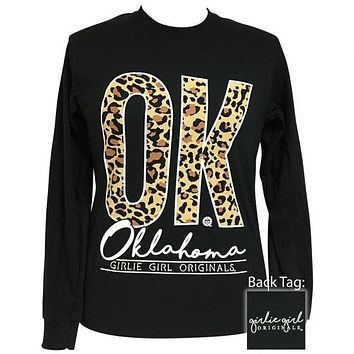 Girlie Girl Preppy Leopard Oklahoma Long Sleeve T-Shirt