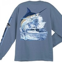 Guy Harvey Marlin Boat Men's Back-Print Long Sleeve Tee in White, Denim Blue, Black, Yellow or Smoke Gray