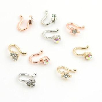 ac DCCKO2Q Piercing Nombril 1pc Amazing 3 Colors Styles Crystal Mrs. Unique Nose Clip Noseclip Fake Ring Faux Piercing Septum Body Jewelry