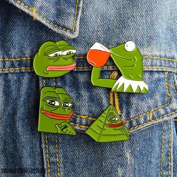 Pepe the Frog Enamel Pin Cartoon Animal Brooch Badges for Clothes Bags Backpacks Jewelry Fashion Pins Cute Lapel Pins Gift
