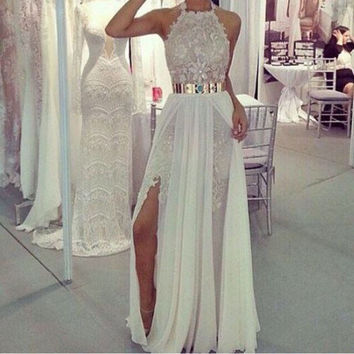 Halter Prom Dresses,White Prom Dress,Long Evening Dress