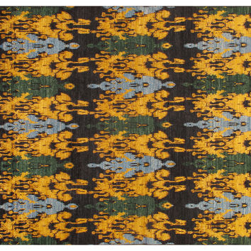9'x12' Ikat Hand-Knotted Rug, Black, Area Rugs